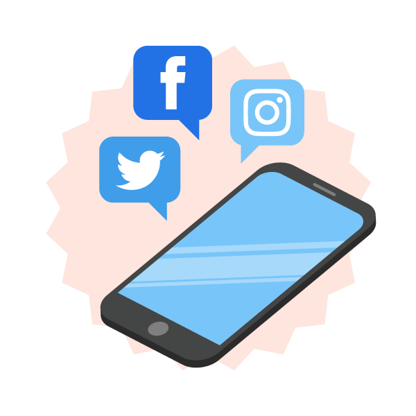 Share on social media graphic icon