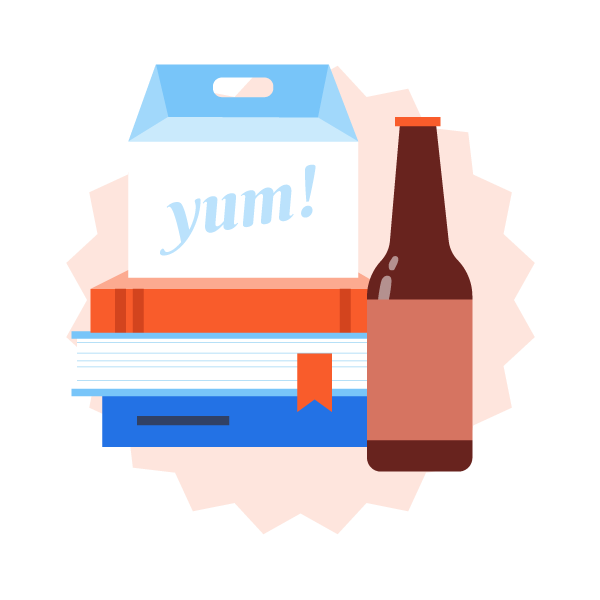 Pick up food and beverage package graphic icon