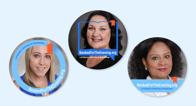 Sample preview of Facebook profile frames for Booked For The Evening digital fundraiser event