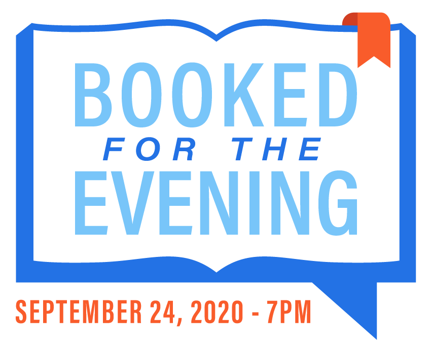 Booked For The Evening logo, digital fundraiser event, Literacy Buffalo Niagara